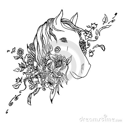 Free Abstract Graphic Horse Head, Print Royalty Free Stock Images - 57978439