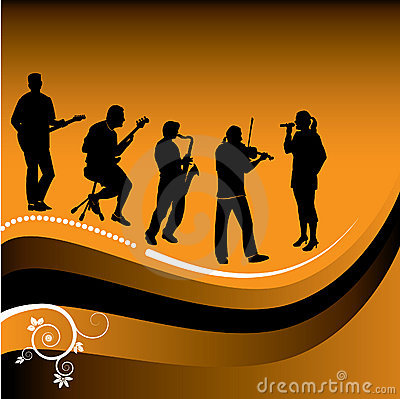 Abstract graphic of musicians