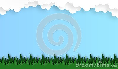 Abstract grass field with cloud background, vector ,illustration, paper art style Vector Illustration