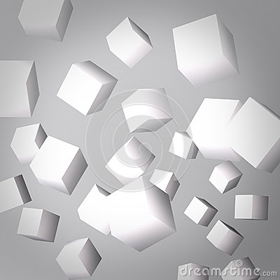 Abstract gray background made of white cubes