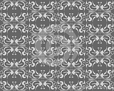 Abstract gray floral seamless