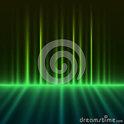 Abstract green aurora borealis