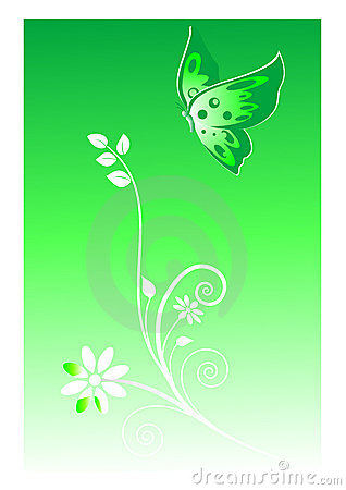 Abstract green  background with a butterfly