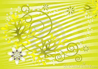 Abstract green background with flowers. Background