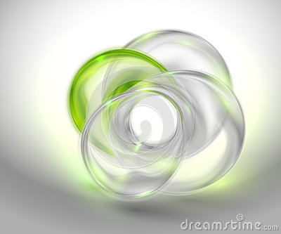 Abstract green background with glass round shape