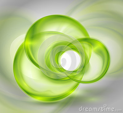 Abstract green background with glass round shapes