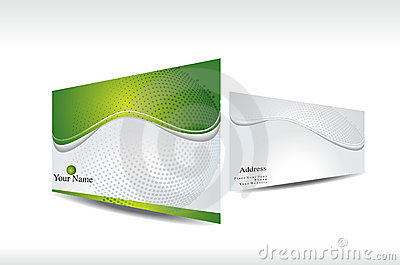 Abstract green business card with 3d presentation