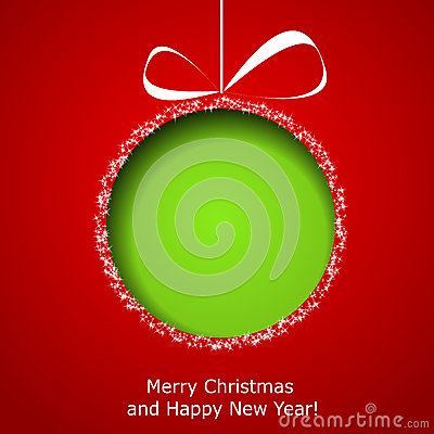 Abstract green Christmas ball cutted from paper