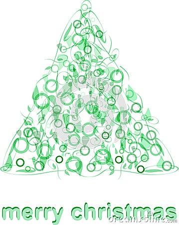 Abstract green christmas tree greeting card blank xmas