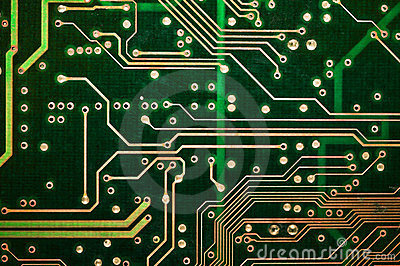 Abstract green circuit board PCB Closeup
