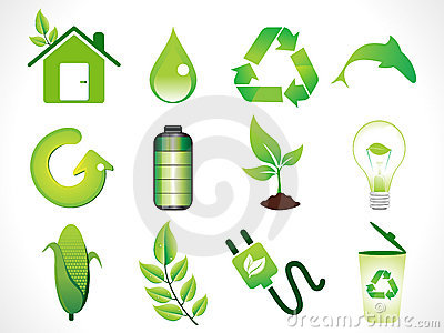 Abstract green eco icons set