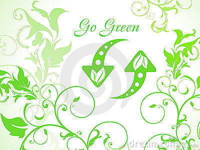 Abstract green floral background with refresh icon