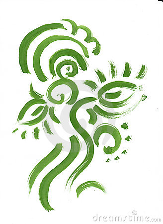 Abstract green floral pattern. Flowers, lines