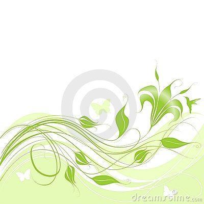 Abstract green floral patterns