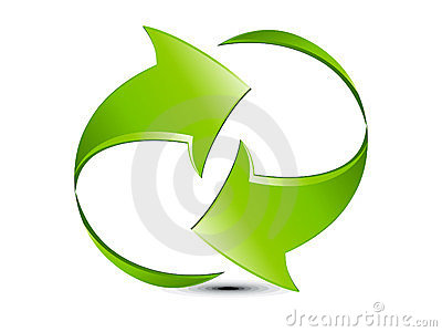 Abstract green glossy refresh icon