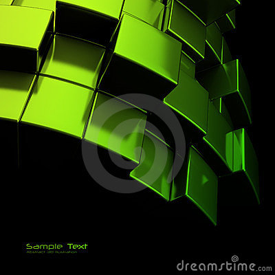 Abstract green metal cubes background