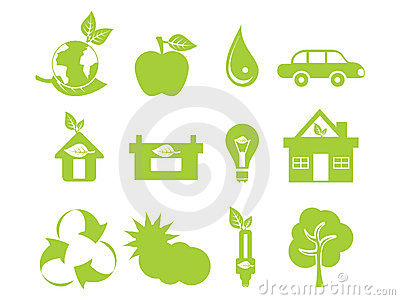 Abstract green multiple eco icons