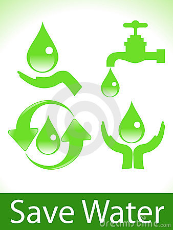 Abstract green save water icons