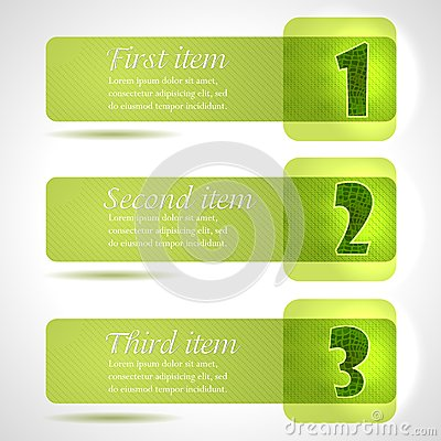 Abstract green stylish tags with numbers