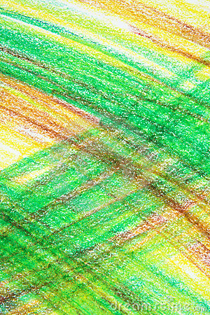 Abstract green and yellow crayon drawing