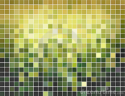 Abstract green and yellow square mosaic background Vector Illustration