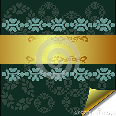 Abstract greeting card with Gold and Green element
