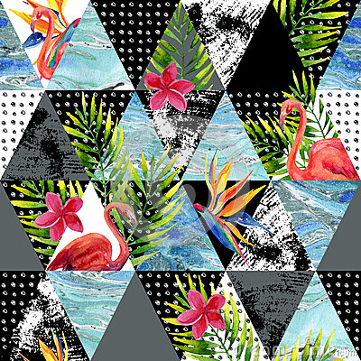 Free Abstract Grunge And Marble Triangles With Tropical Flowers, Leaves Stock Image - 71216251