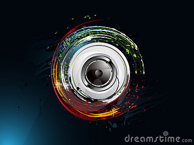 Abstract grunge background, loudspeaker
