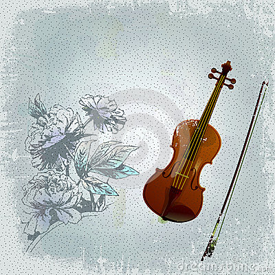 Abstract grunge background with an old violin