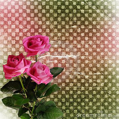 Abstract grunge background with roses for design