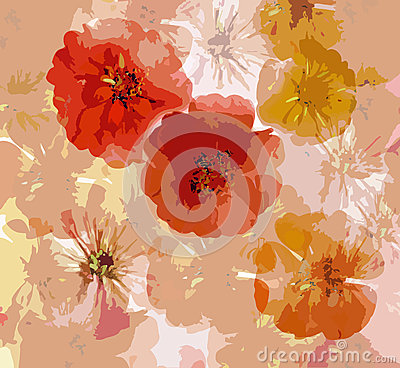 Abstract grunge background with  stylized  zinnia