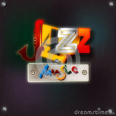 Abstract grunge background with text jazz music