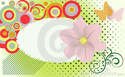 Abstract grunge flower theme with  butterflies.