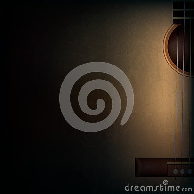 Free Abstract Grunge Music Background With Guitar On Bl Stock Photos - 38169233
