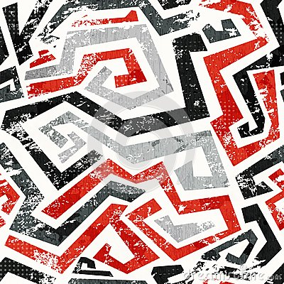 Free Abstract Grunge Red Curved Lines Seamless Pattern Stock Photo - 33044510