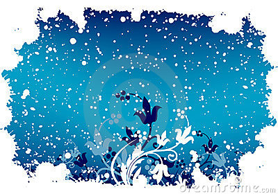 Abstract grunge winter background with flakes and flowers in blu
