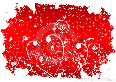 Abstract grunge winter background with flakes and flowers in red