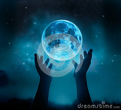 Free Abstract Hands While Praying At Blue Full Moon With Star In Dark Night Sky Background Royalty Free Stock Photography - 64900467
