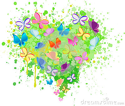 Abstract heart butterfly vector