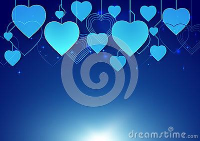 Abstract heart shape hang in dark blue background Vector Illustration
