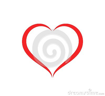 Abstract heart shape outline care Vector illustration. Red heart icon in flat style. Cartoon Illustration