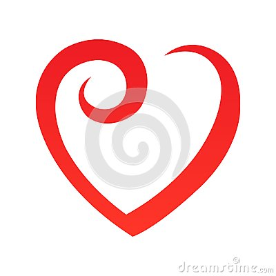 Abstract heart shape outline. Vector illustration. Red heart icon in flat style. The heart as a symbol of love. Vector Illustration
