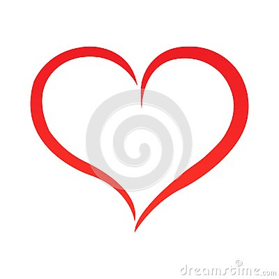Free Abstract Heart Shape Outline. Vector Illustration. Red Heart Icon In Flat Style. The Heart As A Symbol Of Love. Stock Photography - 118302852