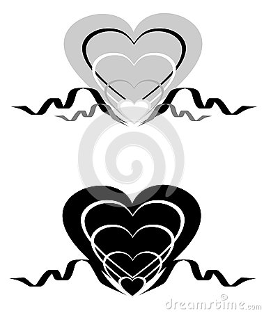 Abstract hearts with an ornament.