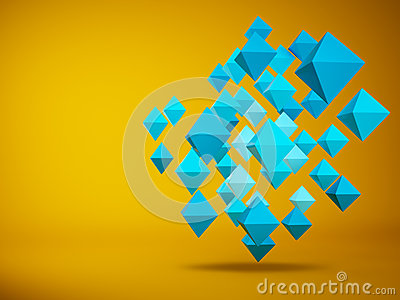 Abstract of hedra 3d rendering