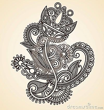 Abstract Henna Mendie Flowers