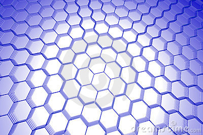 Abstract hexagon background (3D xray blue