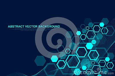 Abstract hexagonal background with waves. Hexagonal molecular structures. Futuristic technology background in science Vector Illustration
