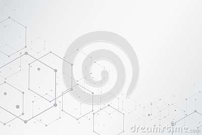 Abstract hexagonal molecular structures background with copy spa Vector Illustration