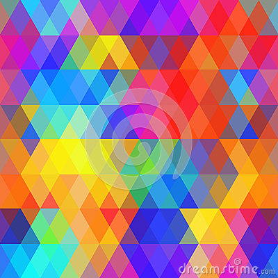 Abstract hipsters seamless pattern with bright colored rhombus. Geometric background rainbow color. Vector Vector Illustration